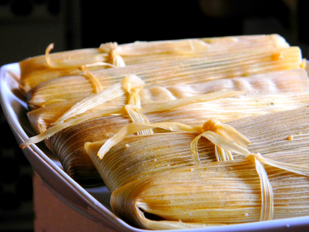 Homemade Cheese and Pepper Tamales Vegetarian
